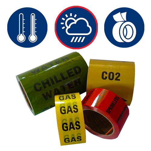 -196°C Extreme Temperature Laminated Printed Tape  - All Weather Pipe Identification (ID) Tape