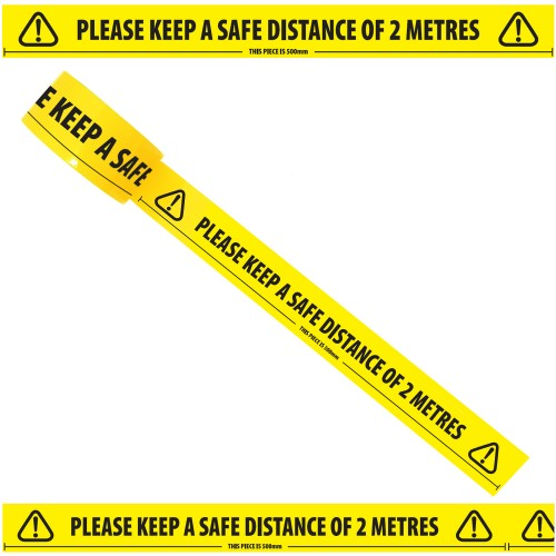 """Please Keep a Safe Distance of 2 Metres - Social Distancing Floor Marking/Signage Tape (2"""" / 48mm x 33m)"""