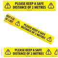 "Please Keep a Safe Distance of 2 Metres - Social Distancing Floor Marking/Signage Tape (6"" / 144mm x 33m)"