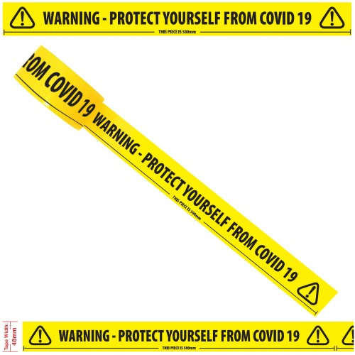 "Warning - Protect Yourself From COVID 19 - Social Distancing Floor Marking/Signage Tape (2"" / 48mm x 33m)"