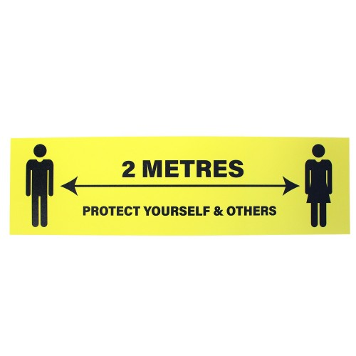 """2 Metres Protect Yourself and Others (Yellow) - Premium Social Distancing Floor Marking Signs/Stickers (14"""" x 4"""" / 350mm x 100mm)"""