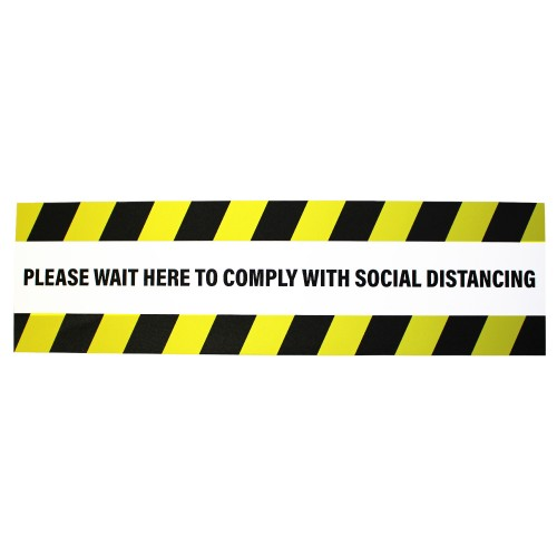 """Please Wait Here To Comply With Social Distancing - Premium Social Distancing Floor Marking Signs/Stickers (14"""" x 4"""" / 350mm x 100mm)"""