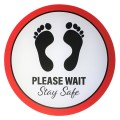 "Please Wait Stay Safe - Premium Social Distancing Floor Marking Signs/Stickers (12"" / 300mm)"