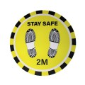 "Stay Safe 2M - Premium Social Distancing Floor Marking Signs/Stickers (12"" / 300mm)"