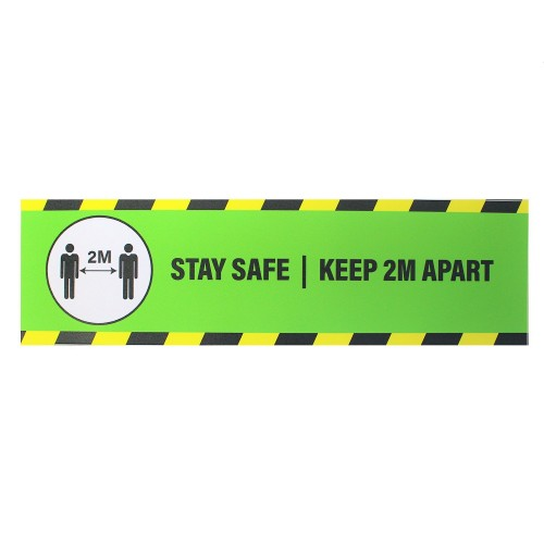 """Stay Safe Keep 2M Apart (Green) - Premium Social Distancing Floor Marking Signs/Stickers (14"""" x 4"""" / 350mm x 100mm)"""