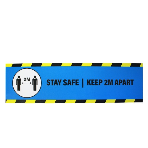 "Stay Safe Keep 2M Apart (Blue) - Premium Social Distancing Floor Marking Signs/Stickers (14"" x 4"" / 350mm x 100mm)"