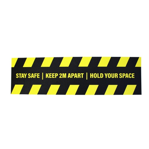 """Stay Safe Keep 2M Apart Hold Your Space - Premium Social Distancing Floor Marking Signs/Stickers (14"""" x 4"""" / 350mm x 100mm)"""