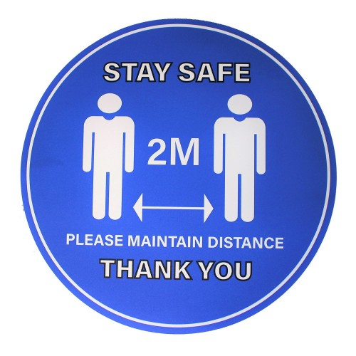 """Stay Safe 2M Please Maintain Distance Thank You - Premium Social Distancing Floor Marking Signs/Stickers (12"""" / 300mm)"""