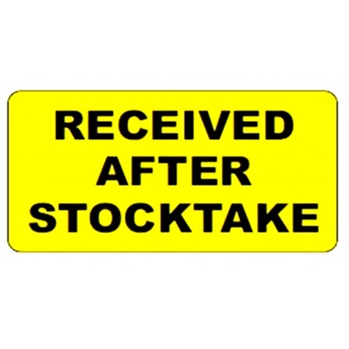 RECEIVED AFTER STOCKTAKE - Stock Control Labels