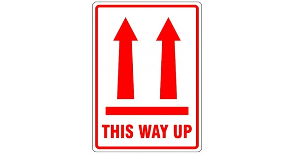 Vertical Arrows This Way Up Parcel Labels