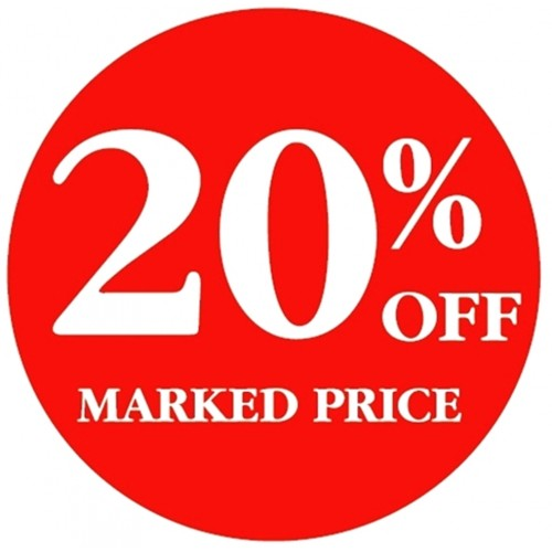 20% OFF MARKED PRICE - Retail Promotion Labels