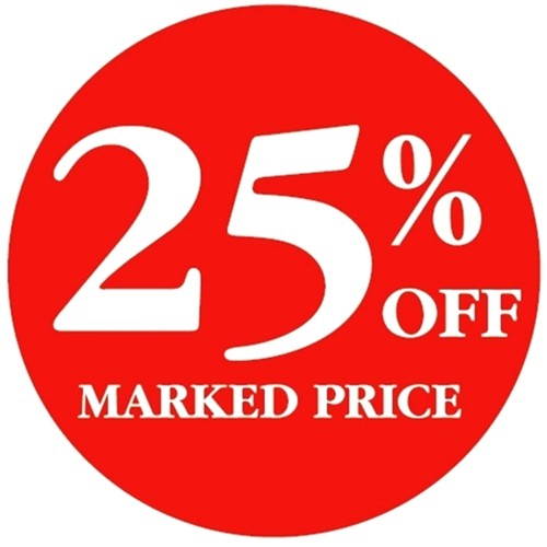 25% OFF MARKED PRICE - Retail Promotion Labels