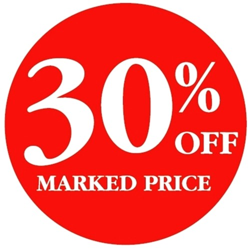 30% OFF MARKED PRICE - Retail Promotion Labels