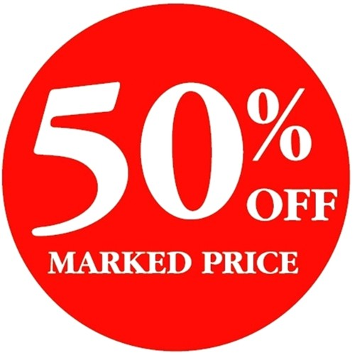 50% OFF MARKED PRICE - Retail Promotion Labels