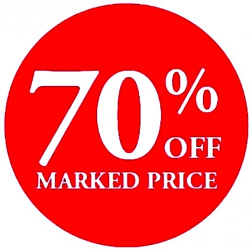 70% OFF MARKED PRICE - Retail Promotion Labels