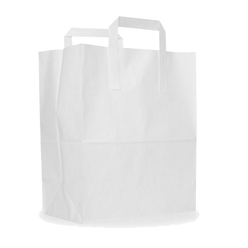 "White Paper Carrier Bags (8.5""x13""x10"" / 216x330x254mm)"