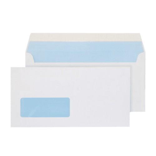 "110x220mm DL 4 1/4 x 8 5/8"" White 90gsm Self Seal Window Envelopes - Qty 1000"