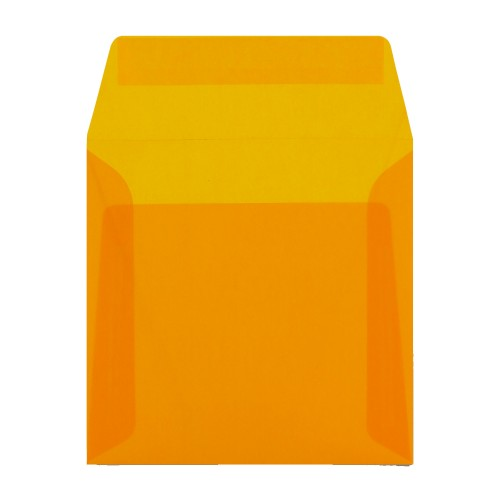 160x160mm Orange Translucent Peel and Seal Envelopes - Qty 10
