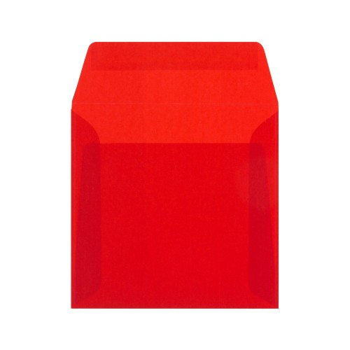 160x160mm Red Translucent Peel and Seal Envelopes - Qty 10