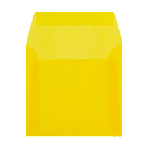 160x160mm Yellow Translucent Peel and Seal Envelopes - Qty 10