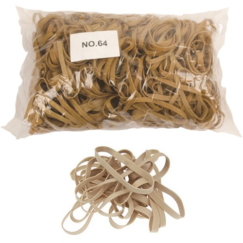 No. 64 (90 x 6 x 1.1mm) Natural Elastic/Rubber Bands (1 x 1lb/454g bag / 310 Bands)