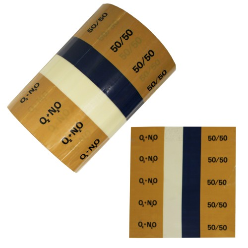 Entonox Nitrous Oxide + Oxygen 50/50 - BS1710:1984 Banded Pipe Identification (ID) Labels