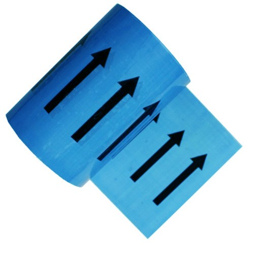 Arrows on Light Blue - Colour Printed Pipe Identification (ID) Tape