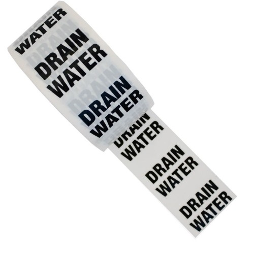 DRAIN WATER - White Printed Pipe Identification (ID) Tape