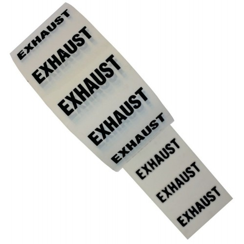 EXHAUST - White Printed Pipe Identification (ID) Tape