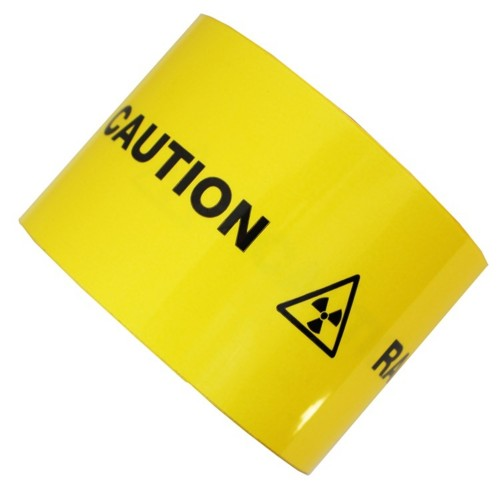 CAUTION (Radioactive Symbol) RADIOACTIVE - 75mm  All Weather Pipe Identification (ID) Tape