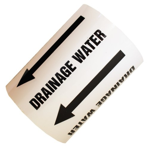 DRAINAGE WATER (Arrow) - All Weather Pipe Identification (ID) Tape