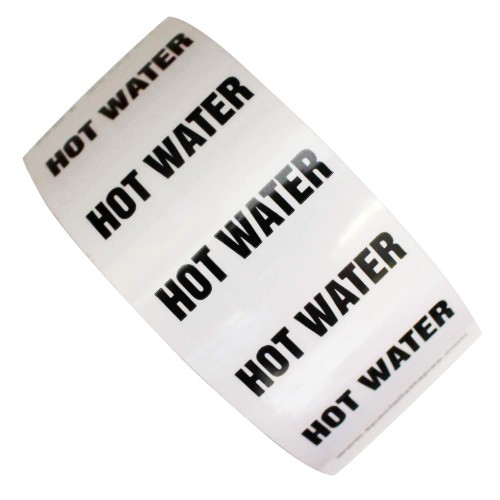 HOT WATER - All Weather Pipe Identification (ID) Tape