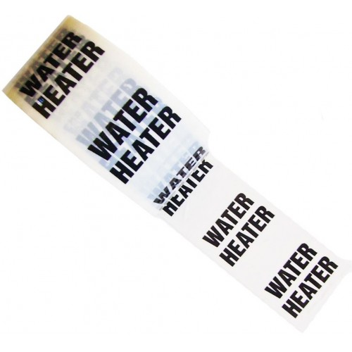 WATER HEATER - White Printed Pipe Identification (ID) Tape