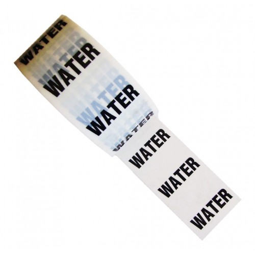 WATER - White Printed Pipe Identification (ID) Tape