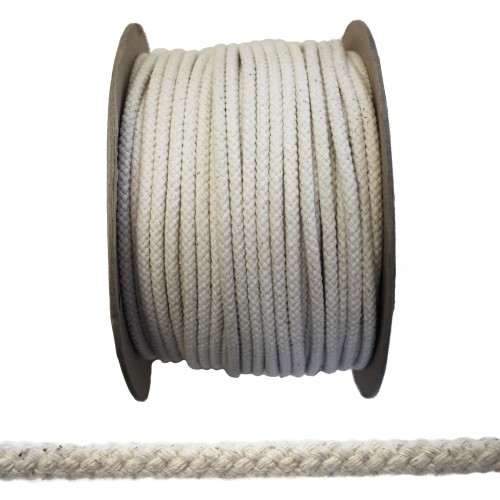 7mm No. 5 Waxed Cotton White Rope / Sash Line