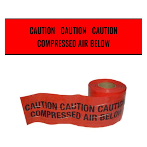 COMPRESSED AIR BELOW (Red) - Premium Detectable Underground Warning Tape