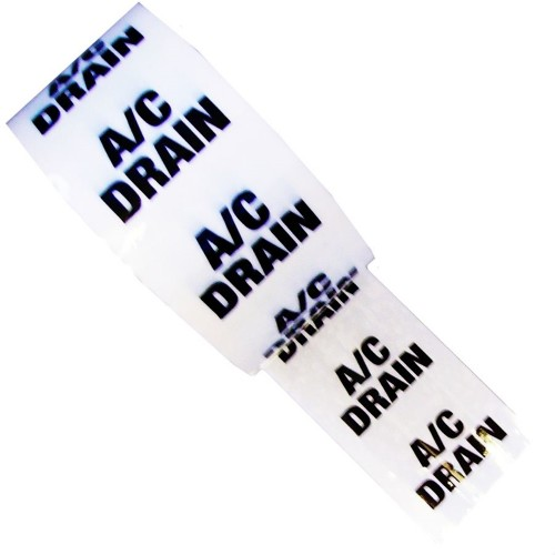 A/C DRAIN - White Printed Pipe Identification (ID) Tape