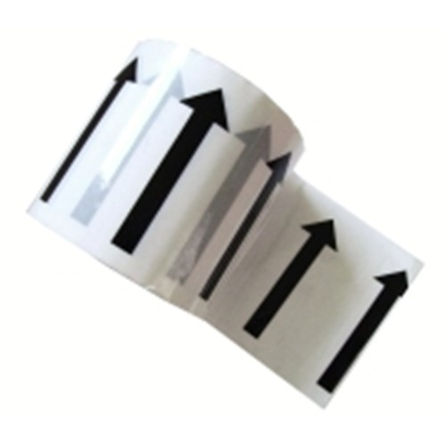 Arrows Across the Tape (96mm) - White Printed Pipe Identification (ID) Tape