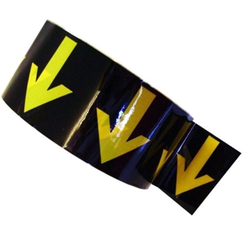 Arrows Across the Tape (48mm Yellow on Black) - Colour Printed Pipe Identification (ID) Tape
