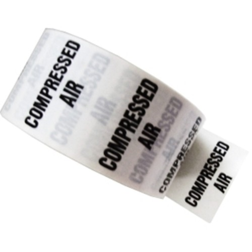 COMPRESSED AIR - White Printed Pipe Identification (ID) Tape