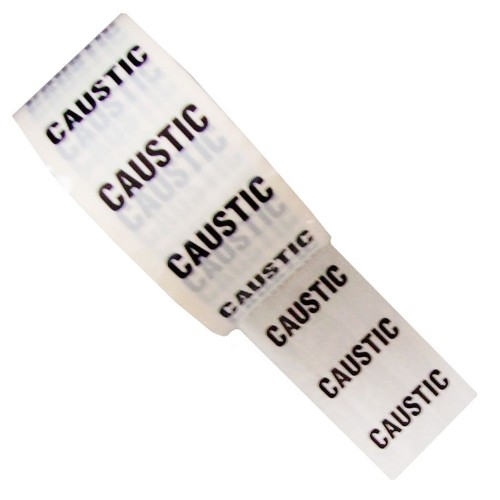 CAUSTIC - White Printed Pipe Identification (ID) Tape