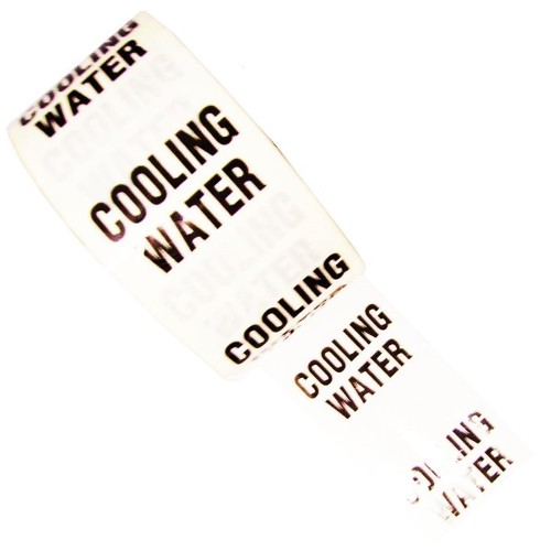 COOLING WATER - White Printed Pipe Identification (ID) Tape