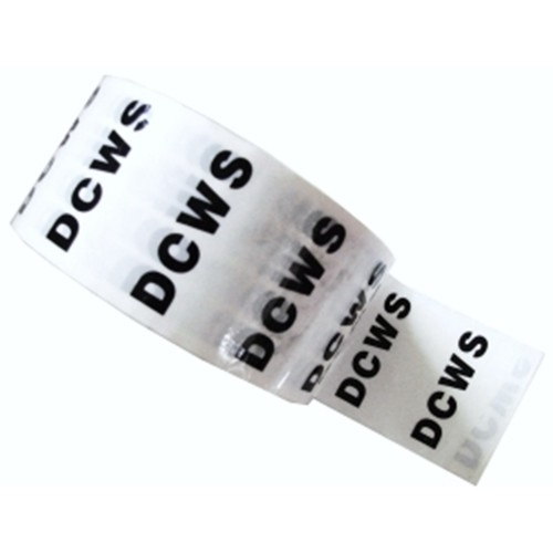 D C W S (DCWS) - White Printed Pipe Identification (ID) Tape
