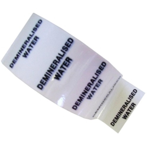 DEMINERALISED WATER - White Printed Pipe Identification (ID) Tape