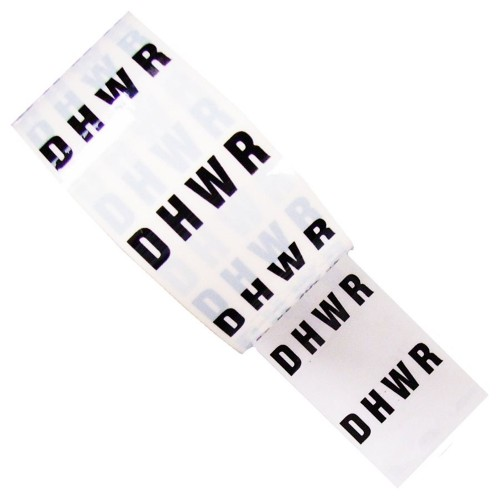 D H W R (DHWR) - White Printed Pipe Identification (ID) Tape