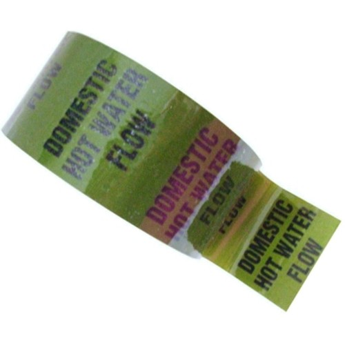 DOMESTIC HOT WATER FLOW - Coloured Printed Pipe Identification (ID) Tape