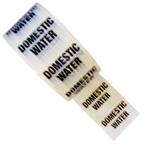 DOMESTIC WATER - White Printed Pipe Identification (ID) Tape