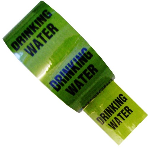 DRINKING WATER (48mm Black Text) - Colour Printed Pipe Identification (ID) Tape