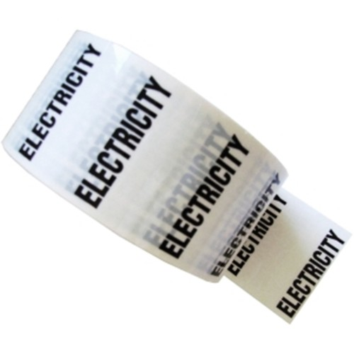 ELECTRICITY - White Printed Pipe Identification (ID) Tape