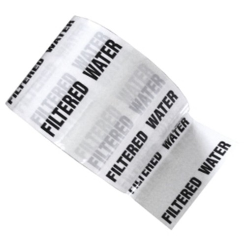 FILTERED WATER - White Printed Pipe Identification (ID) Tape